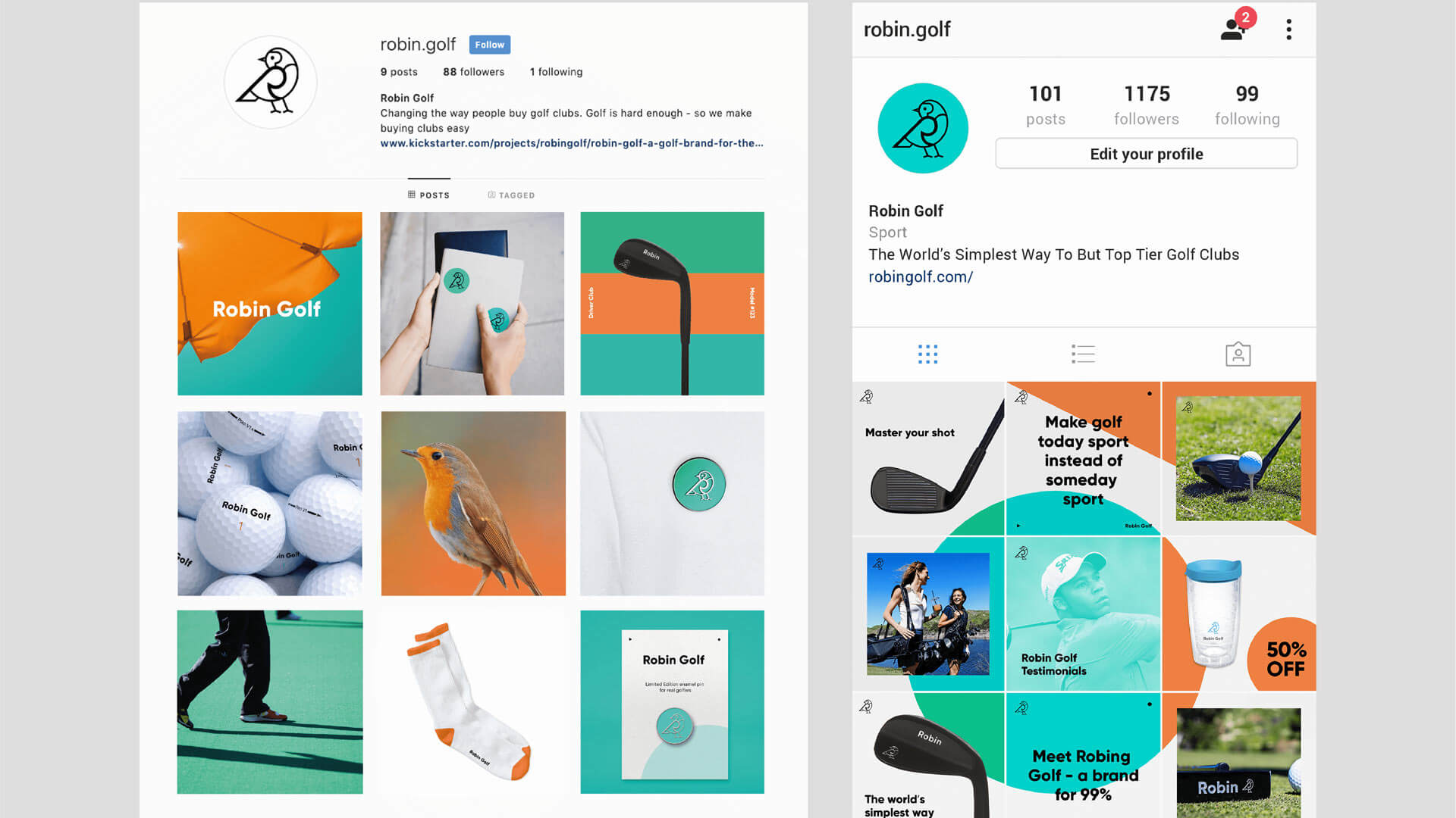 Visual Identity for Robin Golf: making a golf club for the 99%
